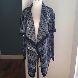Patterned drapey open cardigan